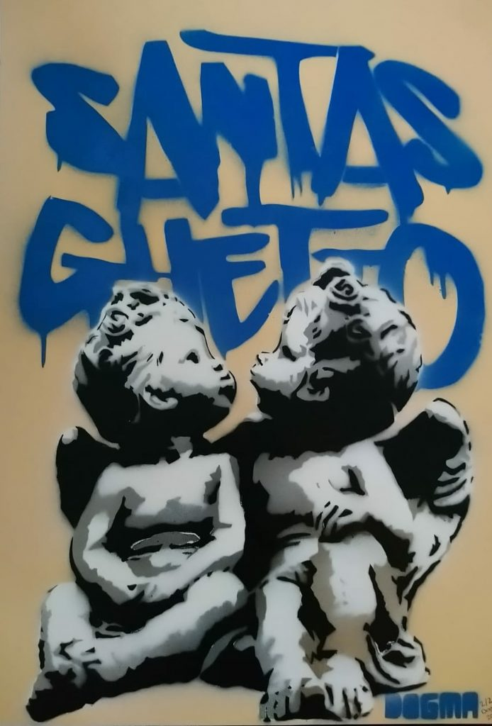 Mixed media work of two cherubs in front of graffiti text