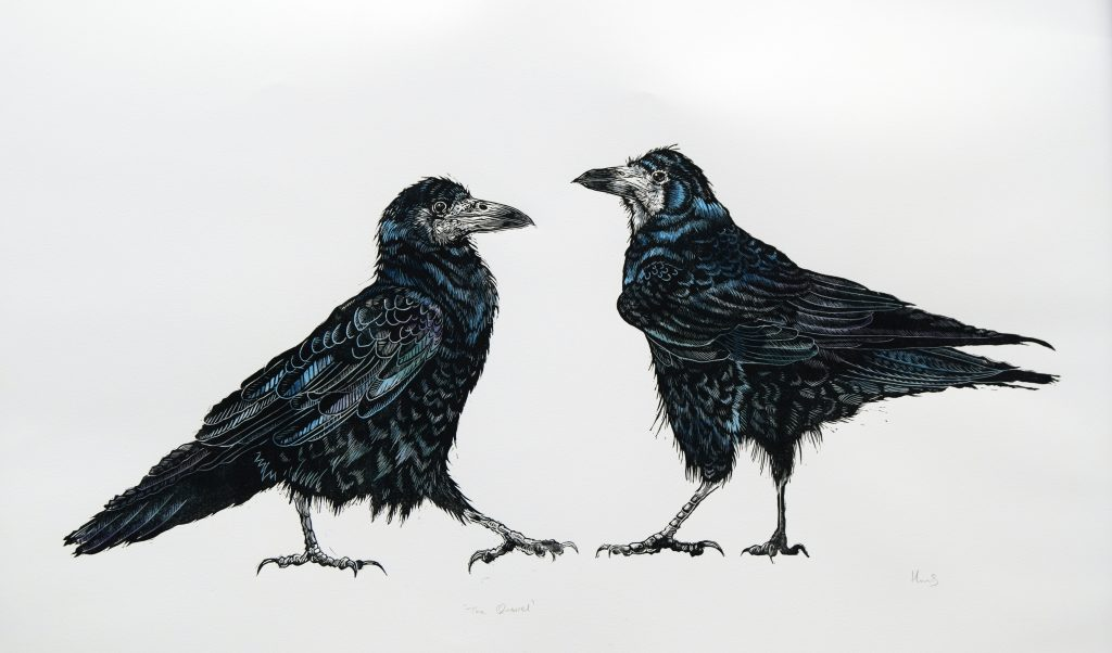 Lino print of two crows