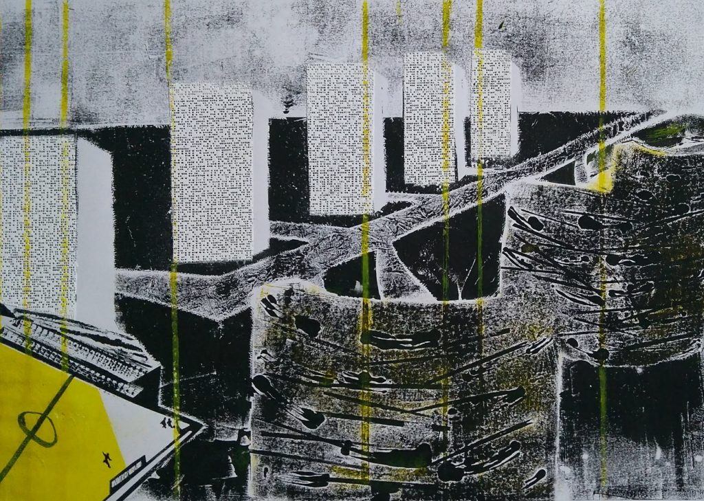 Abstract mixed media work in black, white and yellow