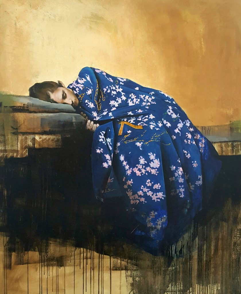 Oil painting of a figure sleeping in a blue floral kimono