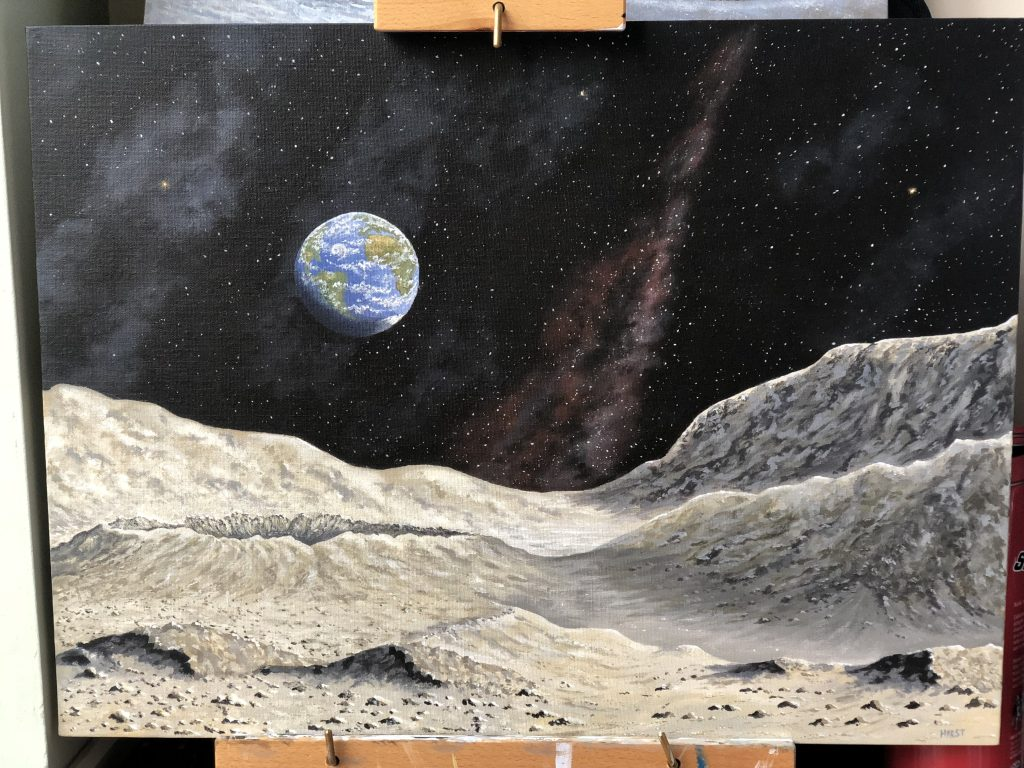 Acrylic painting of the Earth viewed from the surface of the moon
