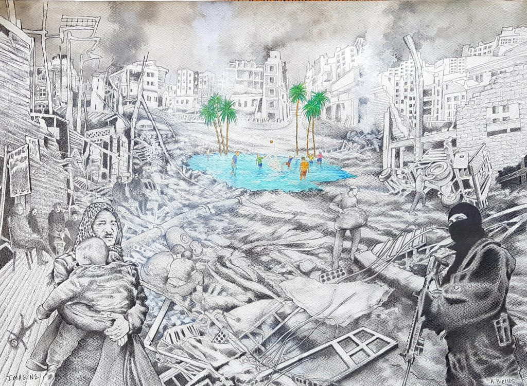 A mixed media work of a city in destruction in black and white, with a bright blue pool with children playing and palm trees