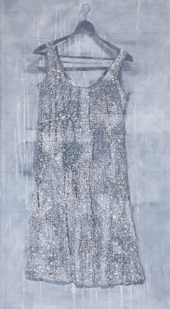 Oil painting of a patterned dress on a hanger