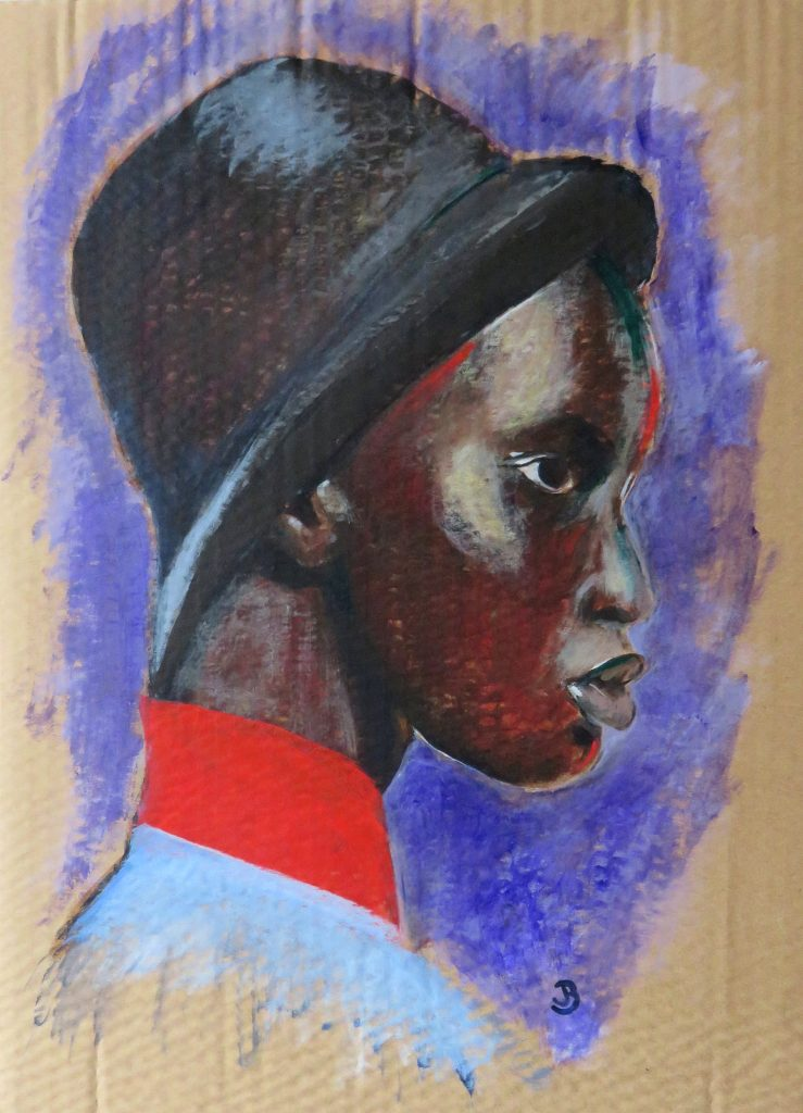 Acrylic portrait painting of a woman's side profile, wearing a hat
