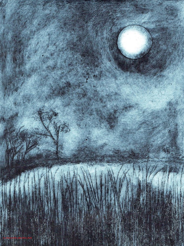 Etching of a night time landscape with a bright moon