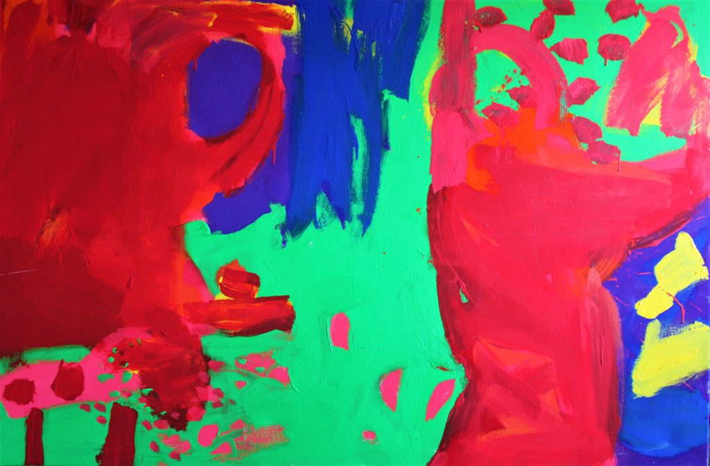 Brightly coloured, expressive acrylic painting