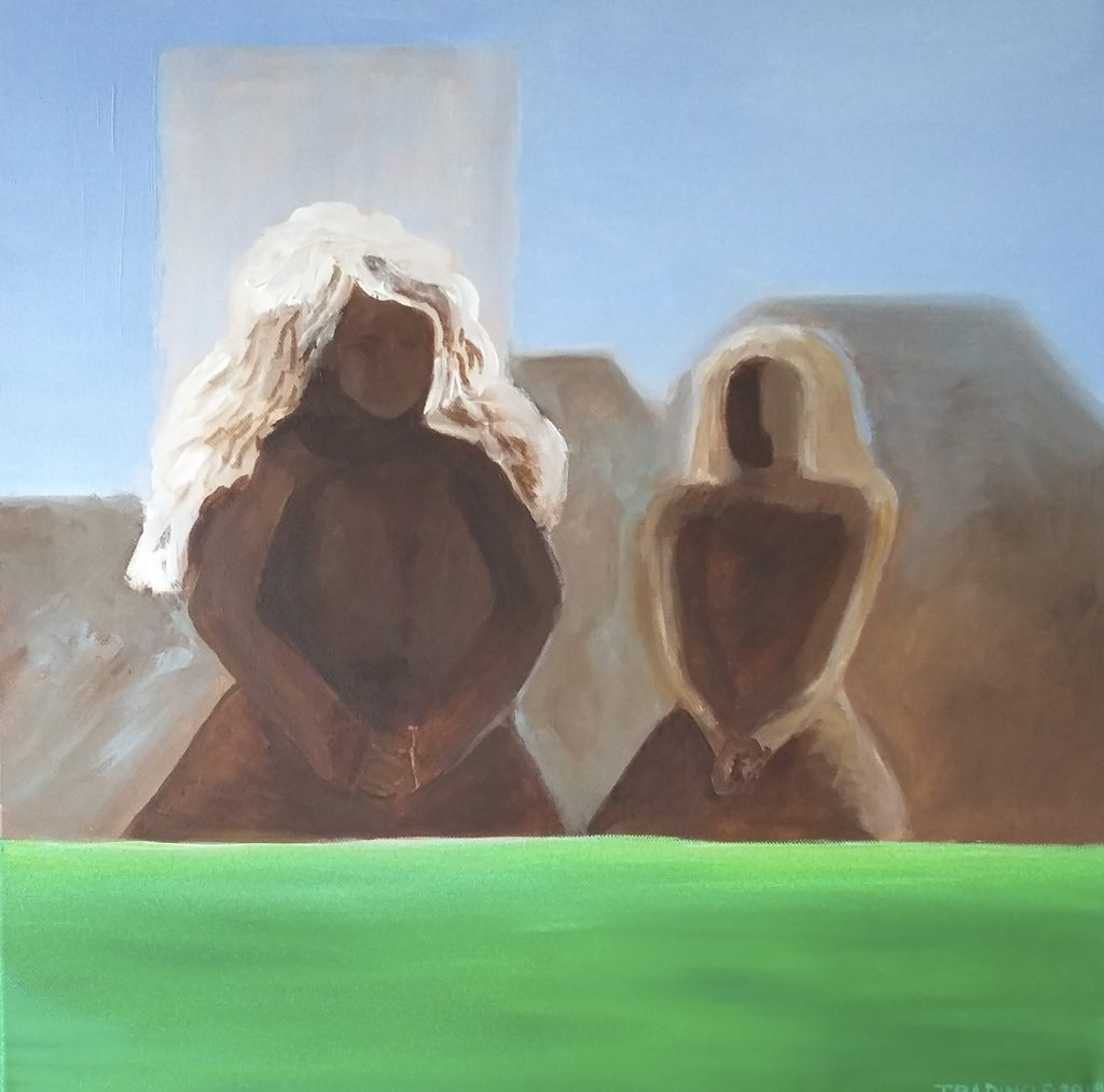 Acrylic painting of two naked women