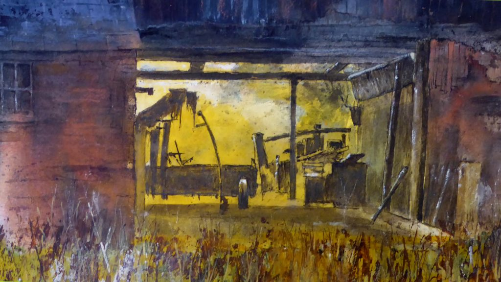 Mixed media work of an old farm shed, in yellow light