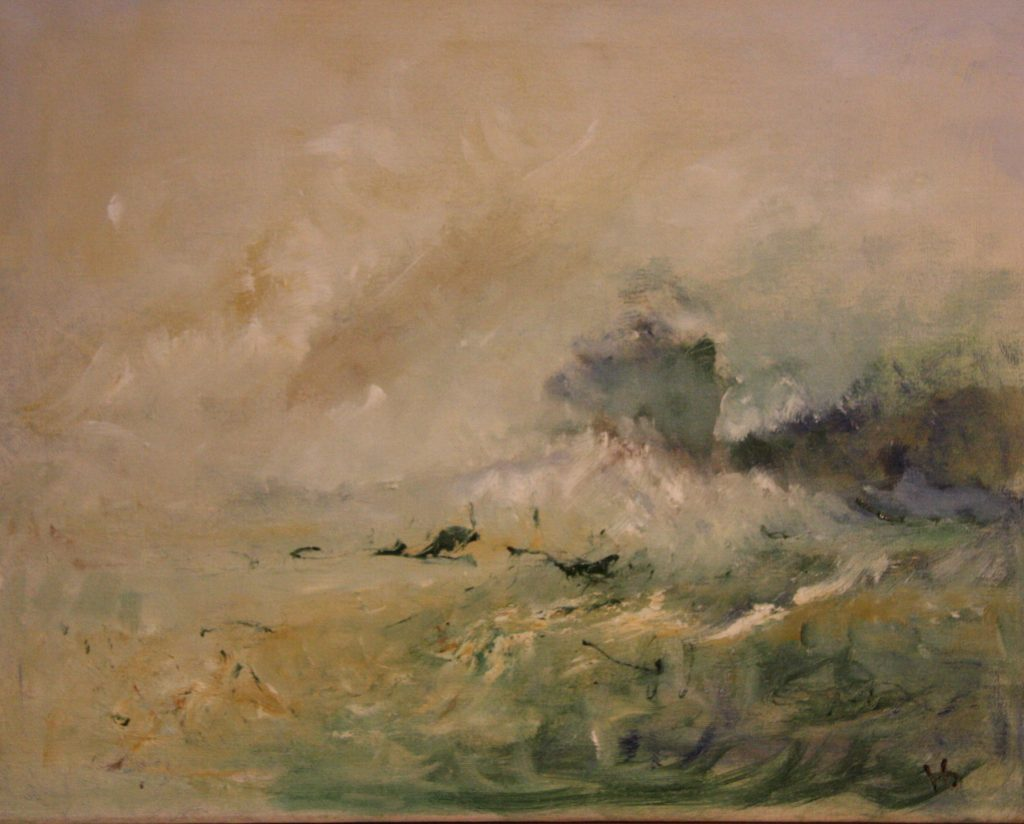 Abstract oil painting of a stormy sea, in neutral tones