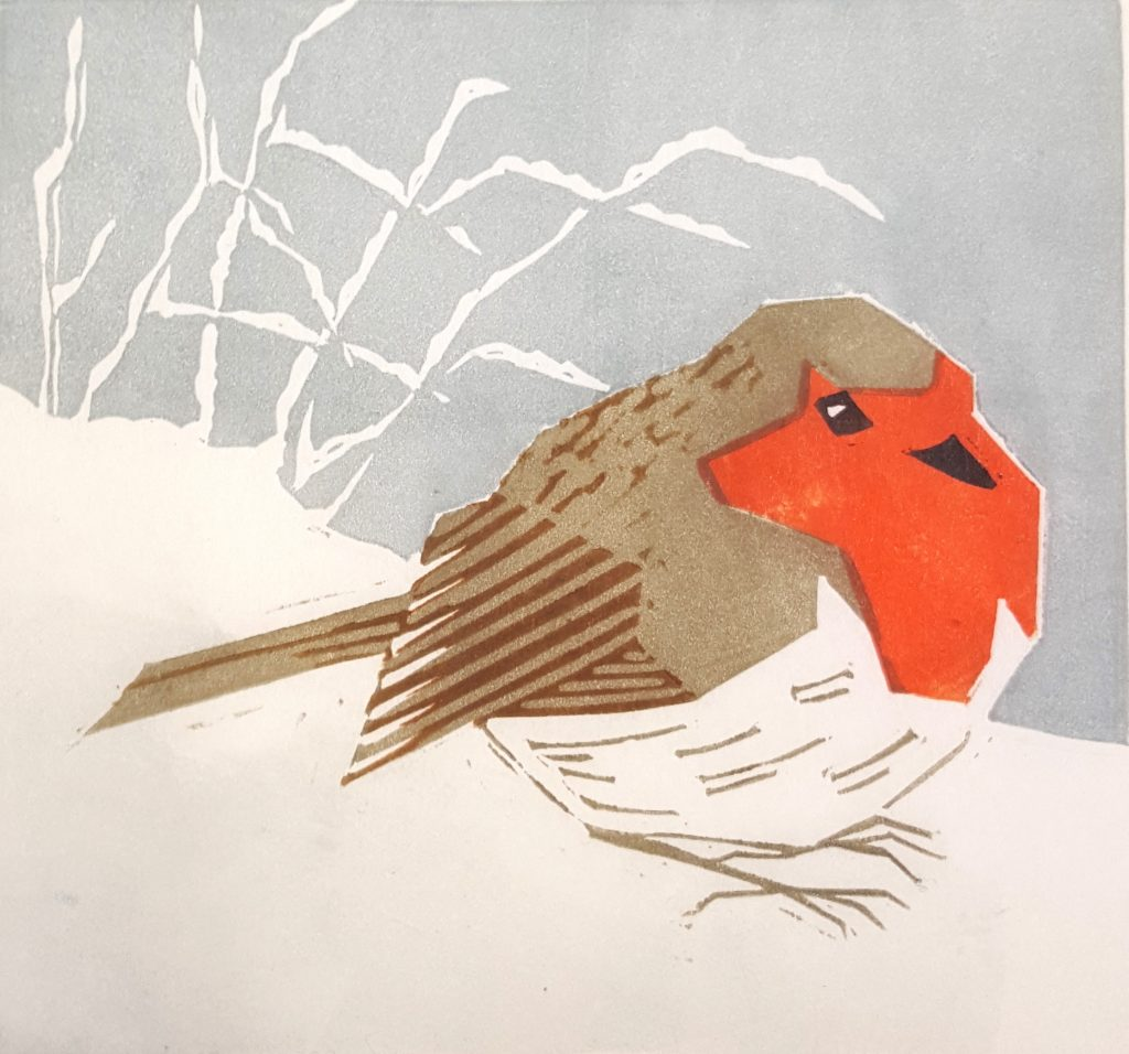 Lino print of a red-breasted robin