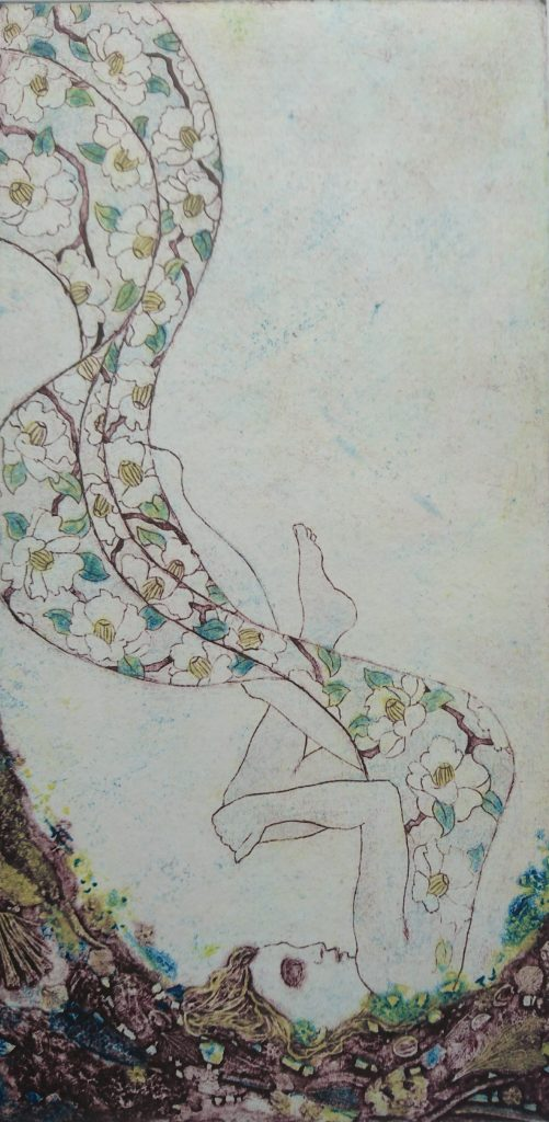 A collgraph print of a woman upside down with a floral dress