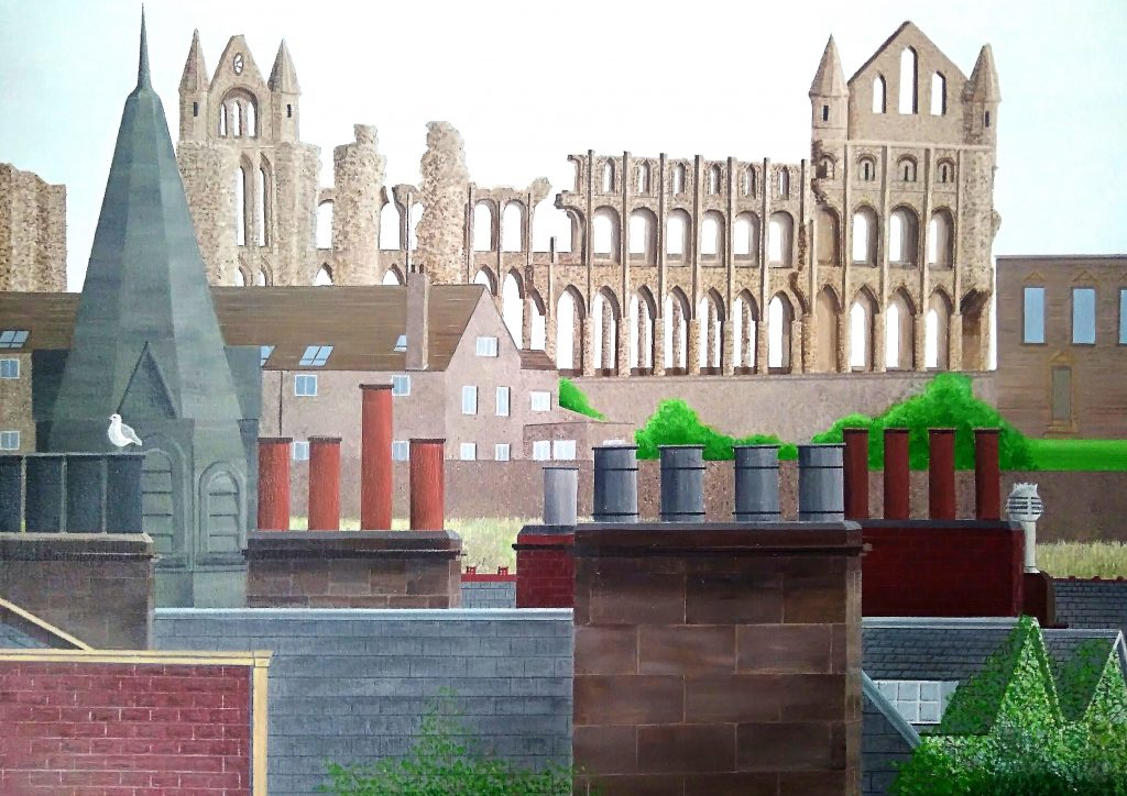 Acrylic painting of Whitby with rooftops and the Abbey