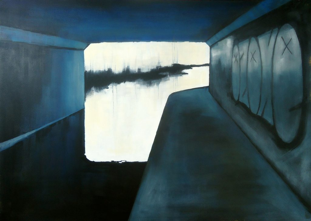 Oil painting of a bright landscape viewed through a metal-like structure – in blue