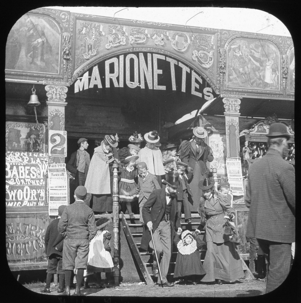 Black and white photograph of a stall c. 1900