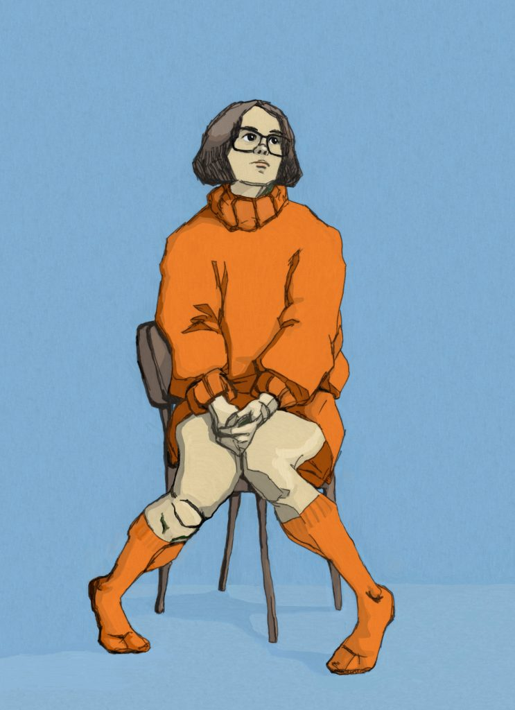 Mixed media work of a woman sat in orange clothing