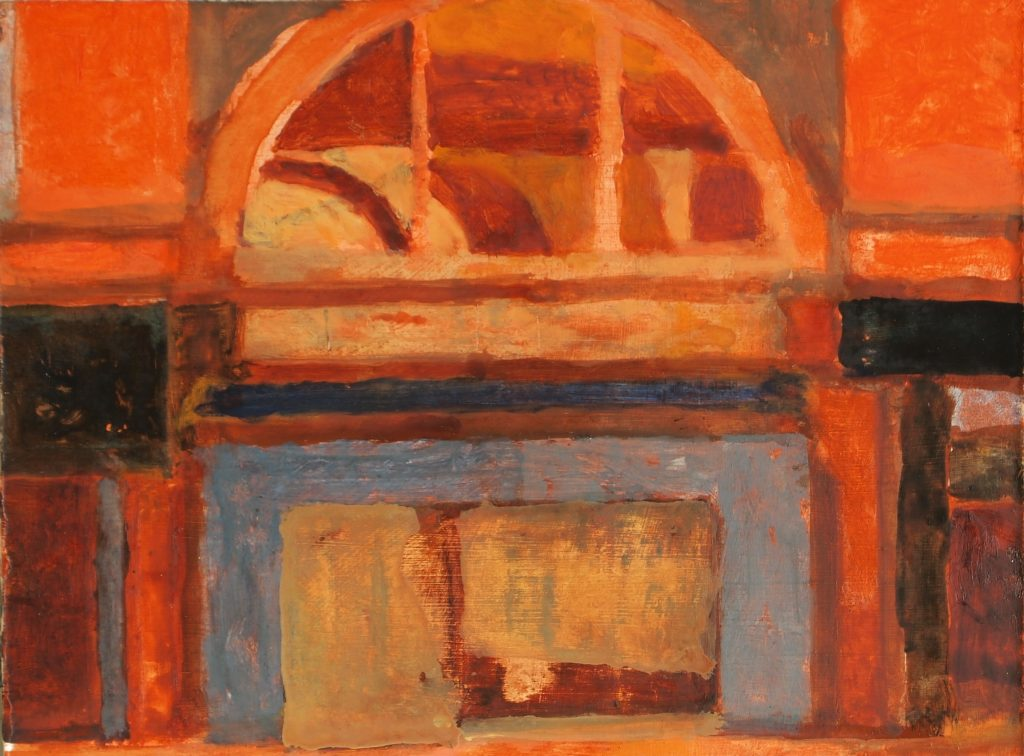 Oil painting of the Arcade in Leeds, painted in orange