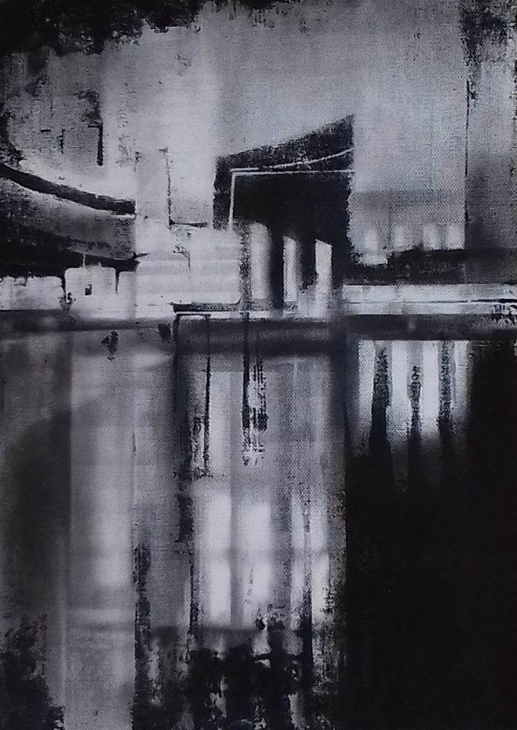 Abstract mixed media work of a city – in black and white