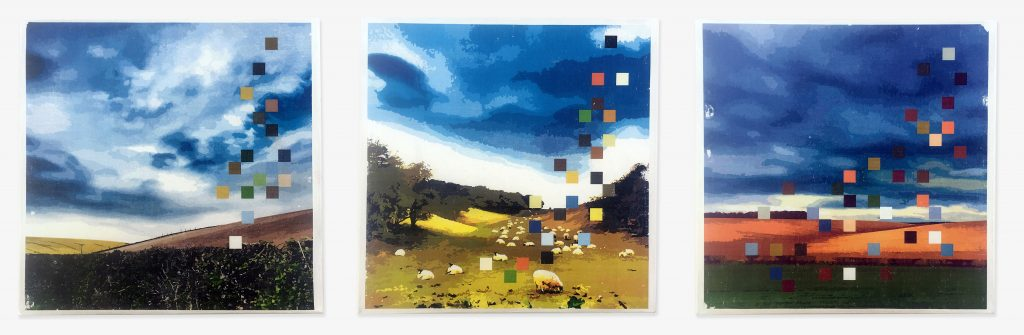 Digital print triptych of three rural landscapes with colour pixels