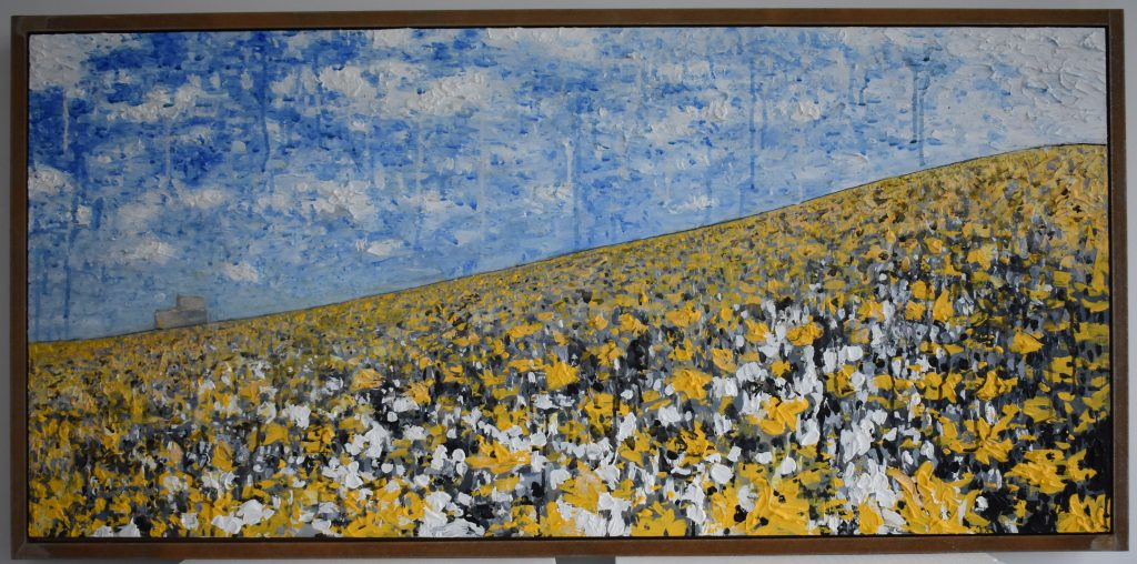 Acrylic painting of yellow field below a cloudy blue sky