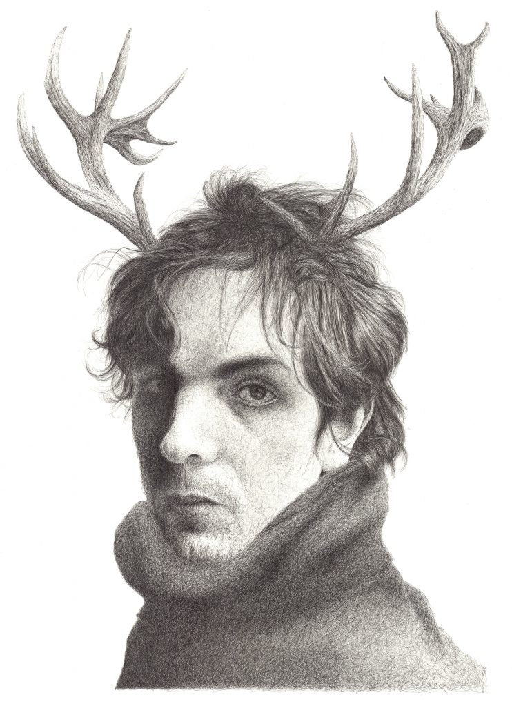 Pen and ink drawing of a man with antlers