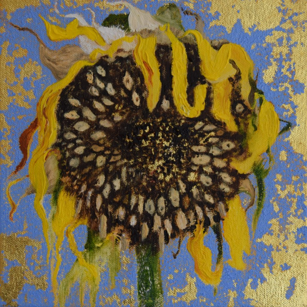 Oil painting of a sunflower head
