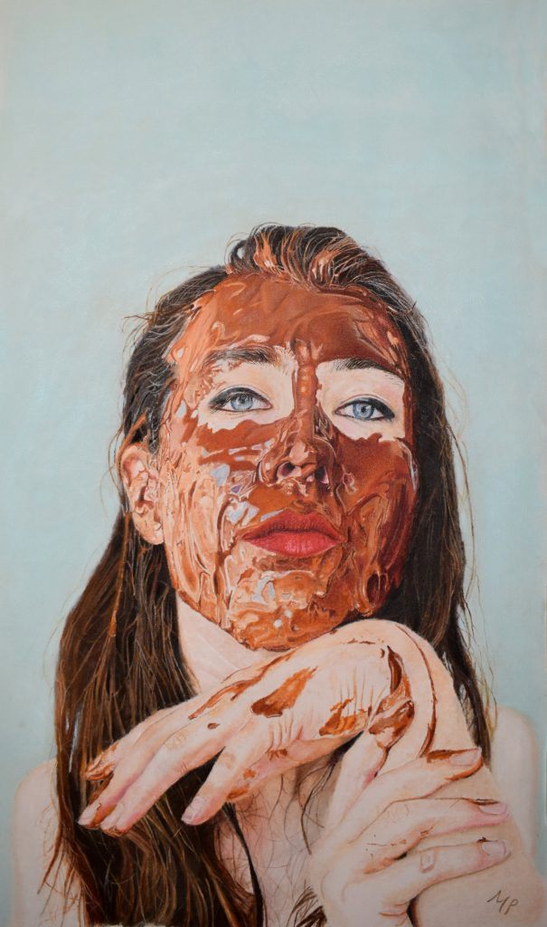 An oil painting of a woman with a brown face mask on