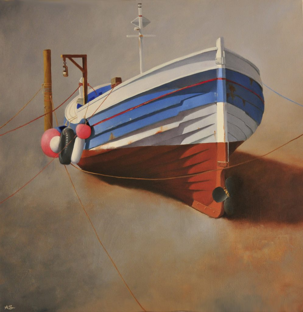 Oil painting of a moored boat