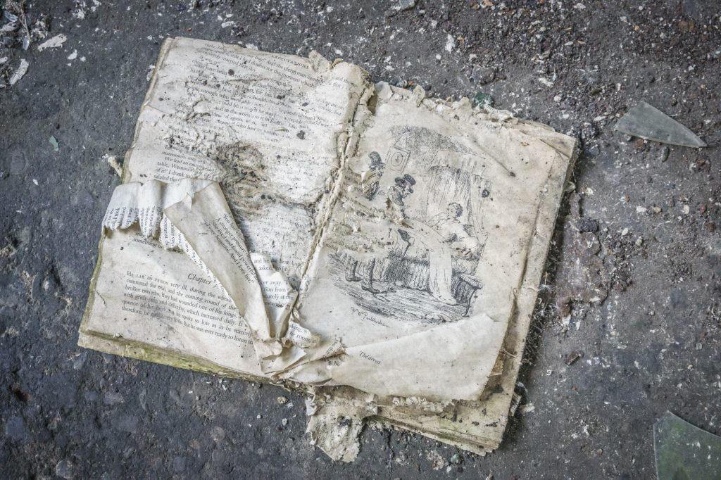 A digital print of a damaged book, open and ragged