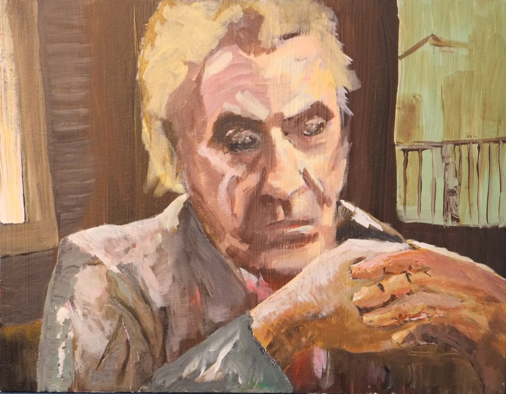 An acrylic painting of a man looking down, with his hands together