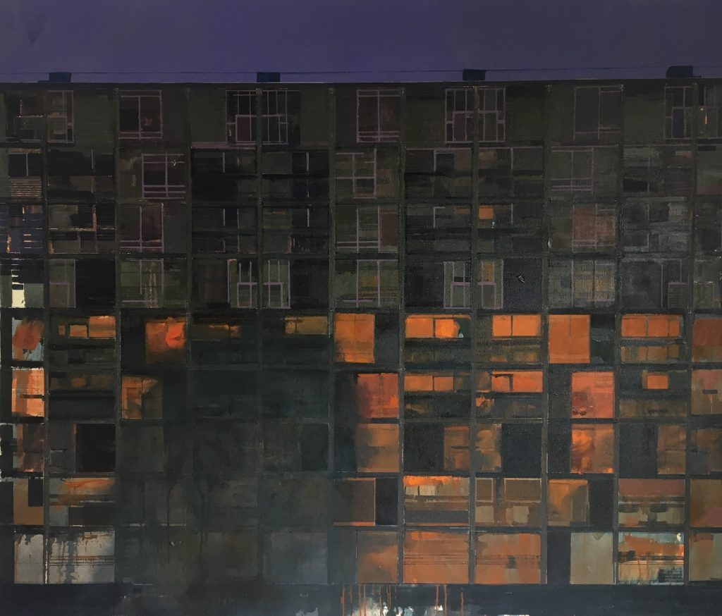 Oil painting of a black of flats at night, with an orange light