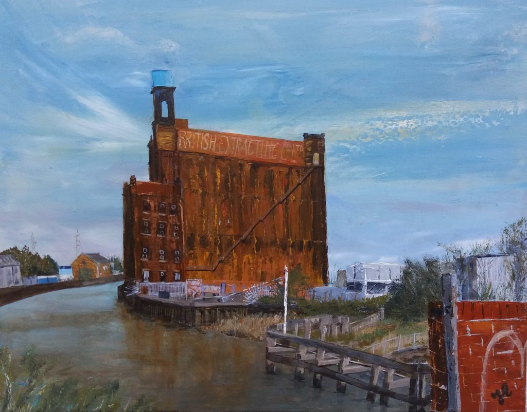 Mixed media of an industrial building by the canal