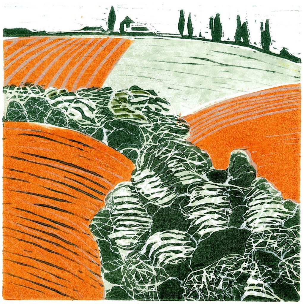 Lino pint of a rural landscape – in orange and green