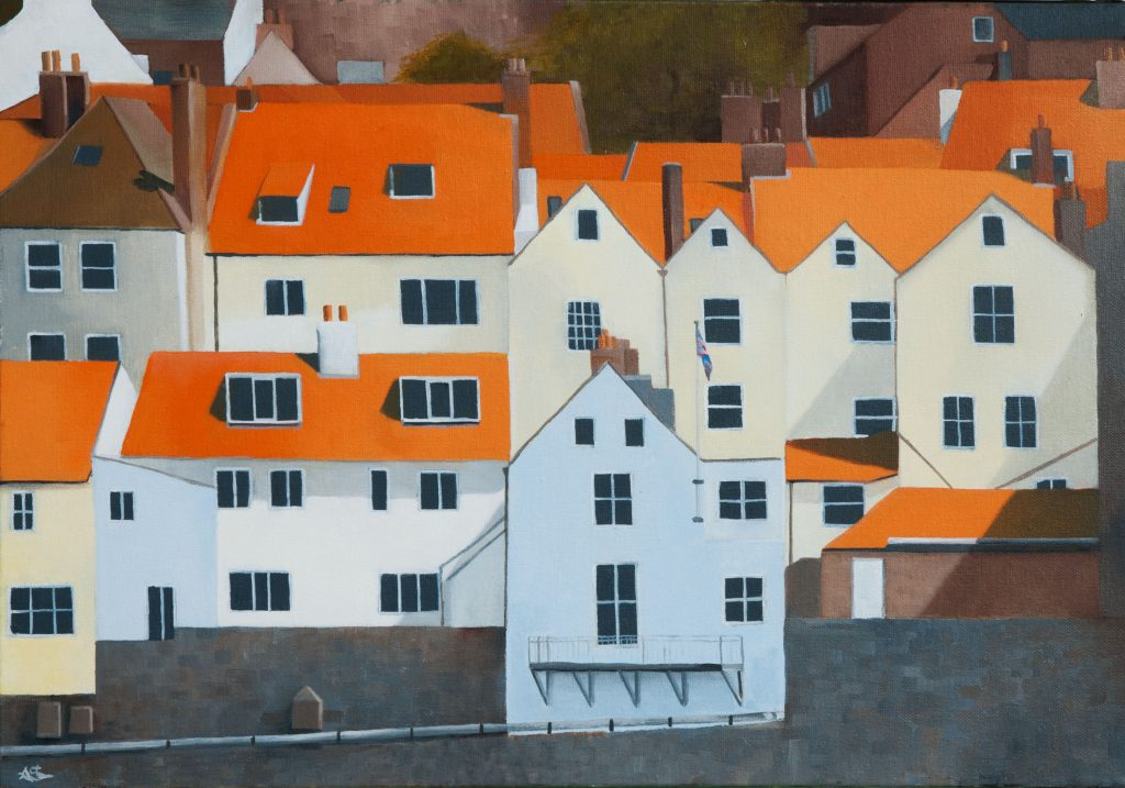 Oil painting of Whitby houses