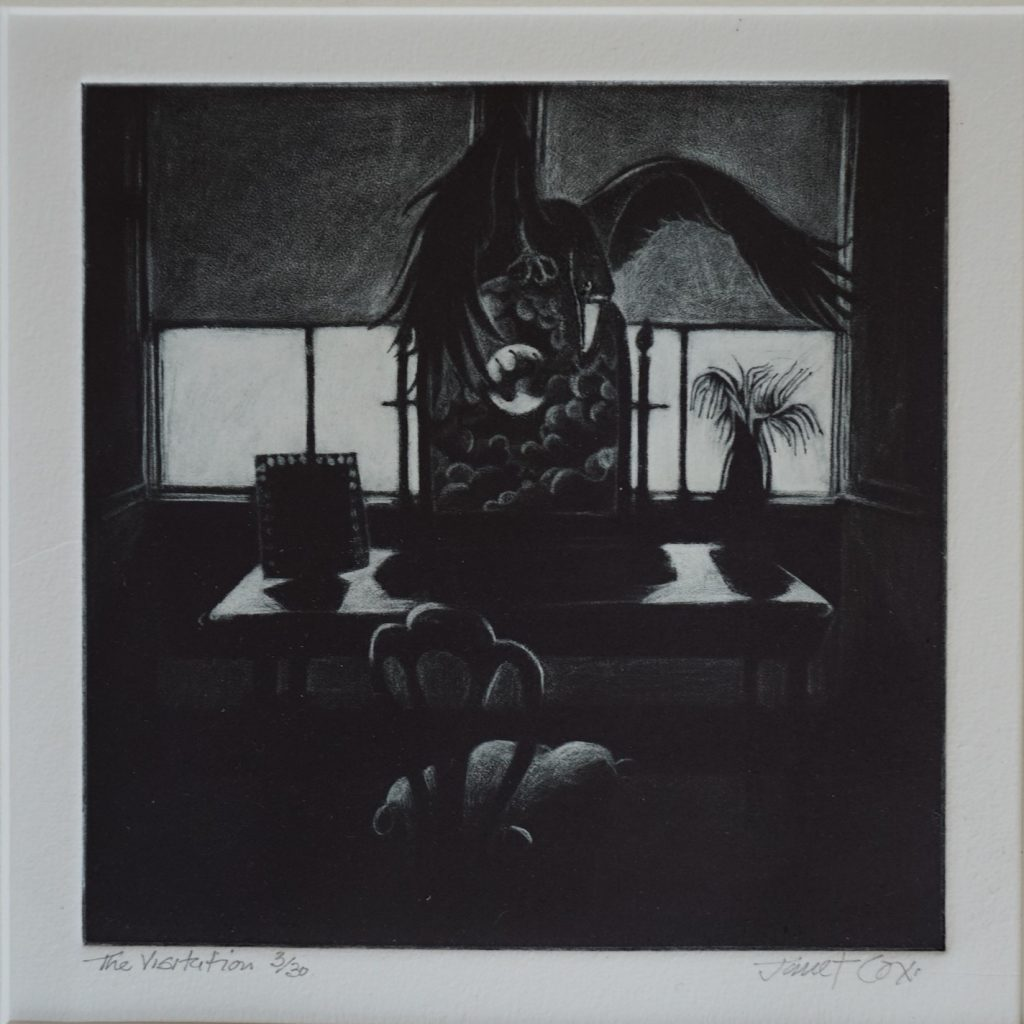 Etching of a dark domestic scene with a large bird above a desk