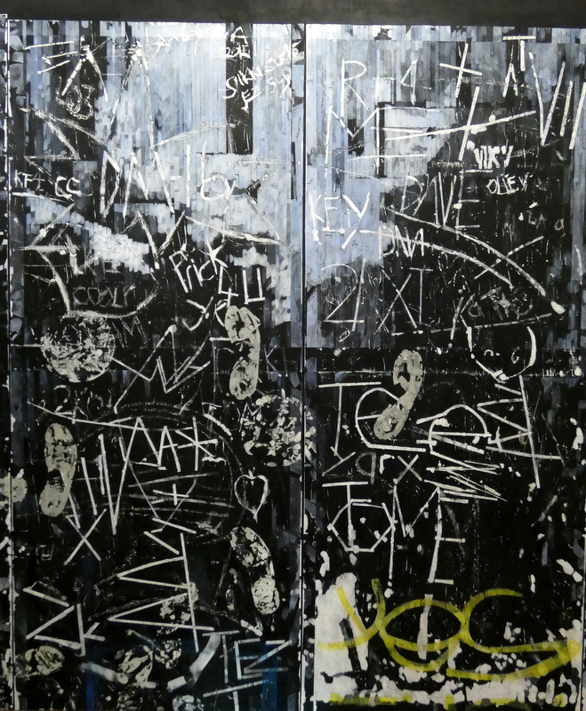 Acrylic painting of black door with graffiti