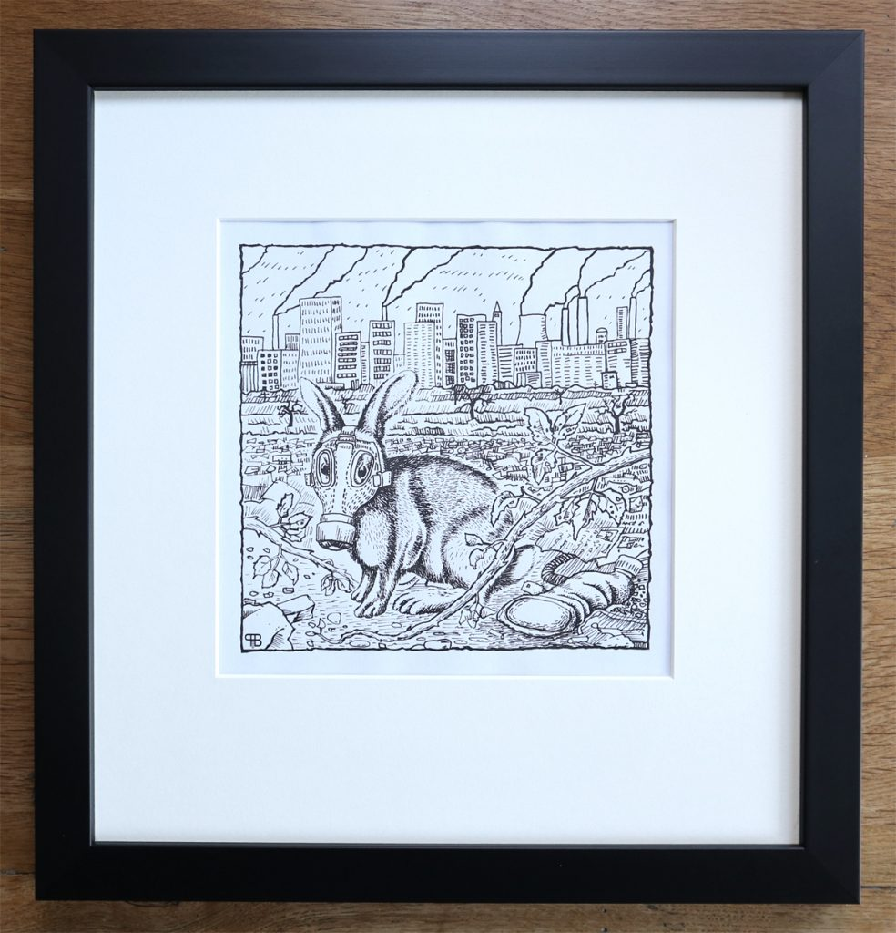Pen and ink drawing of a hare wearing a gas-mask in front of a city skyline.