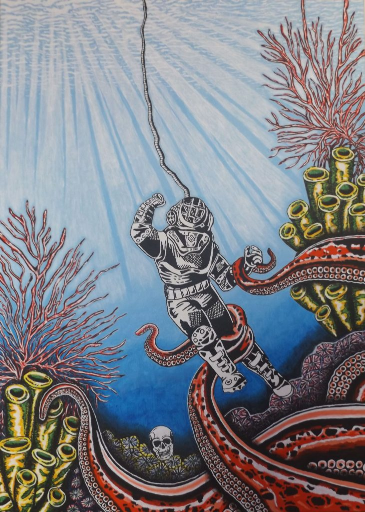 Acrylic painting of a deep sea diver with coral and giant tentacles
