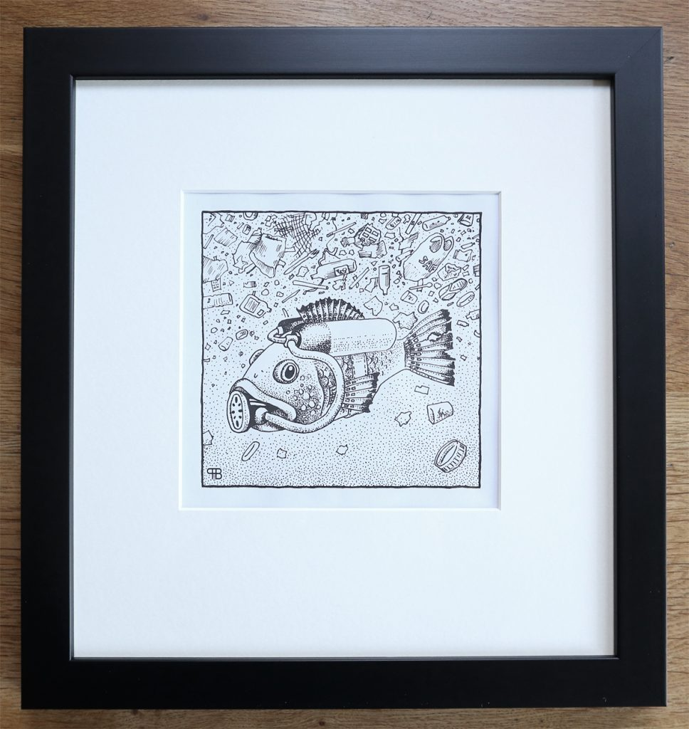 Pen and ink drawing of a fish wearing scuba diving equipment