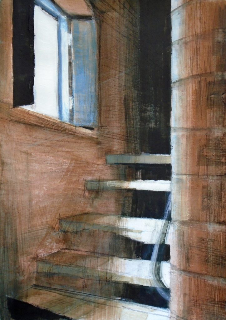 A acrylic painting of a stone staircase