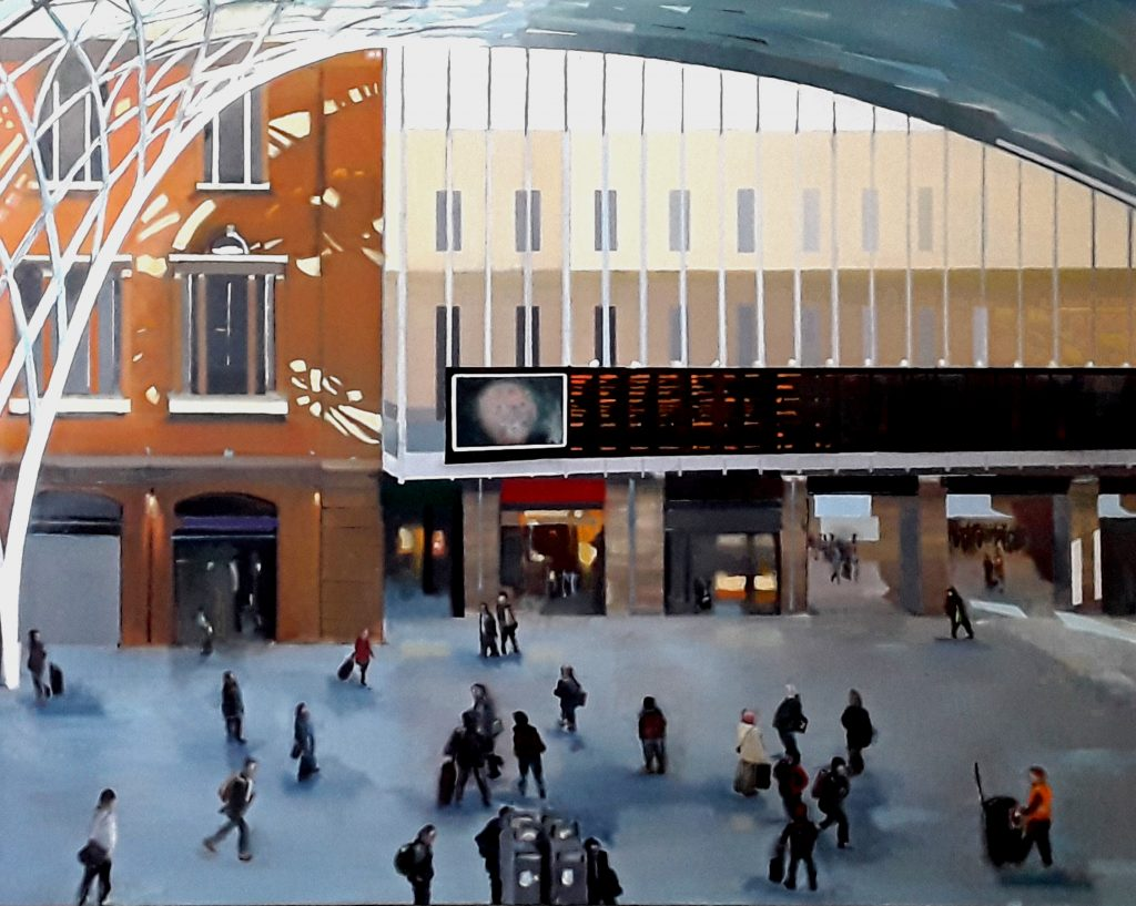 Oil painting of King's Cross Station