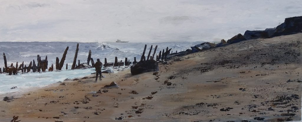 Acrylic painting of a beach with dark rocks