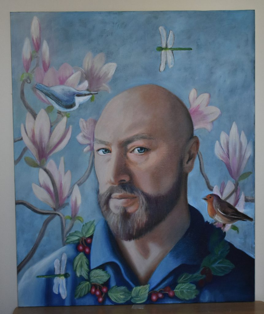 Oil painting self portrait – with flowers and birds