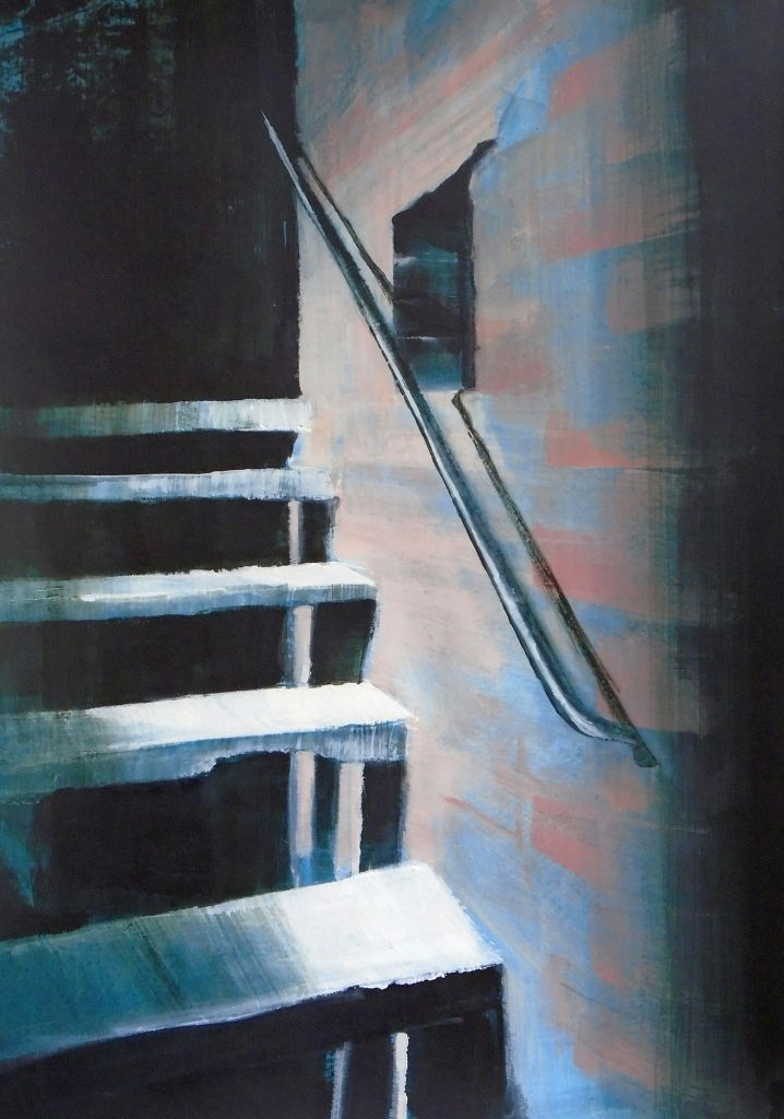 An acrylic painting of a stone staircase in blue light