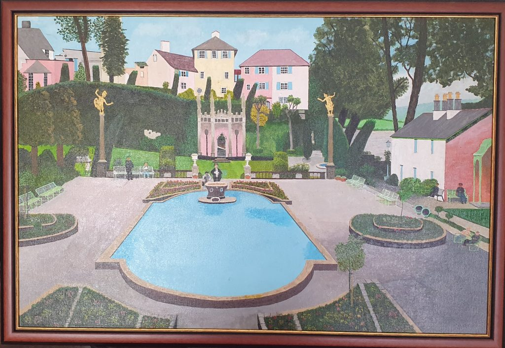 Acrylic painting of Portmeirion in Wales