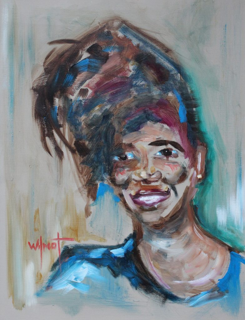 Oil painting of a woman, painted in expressive colourful tones