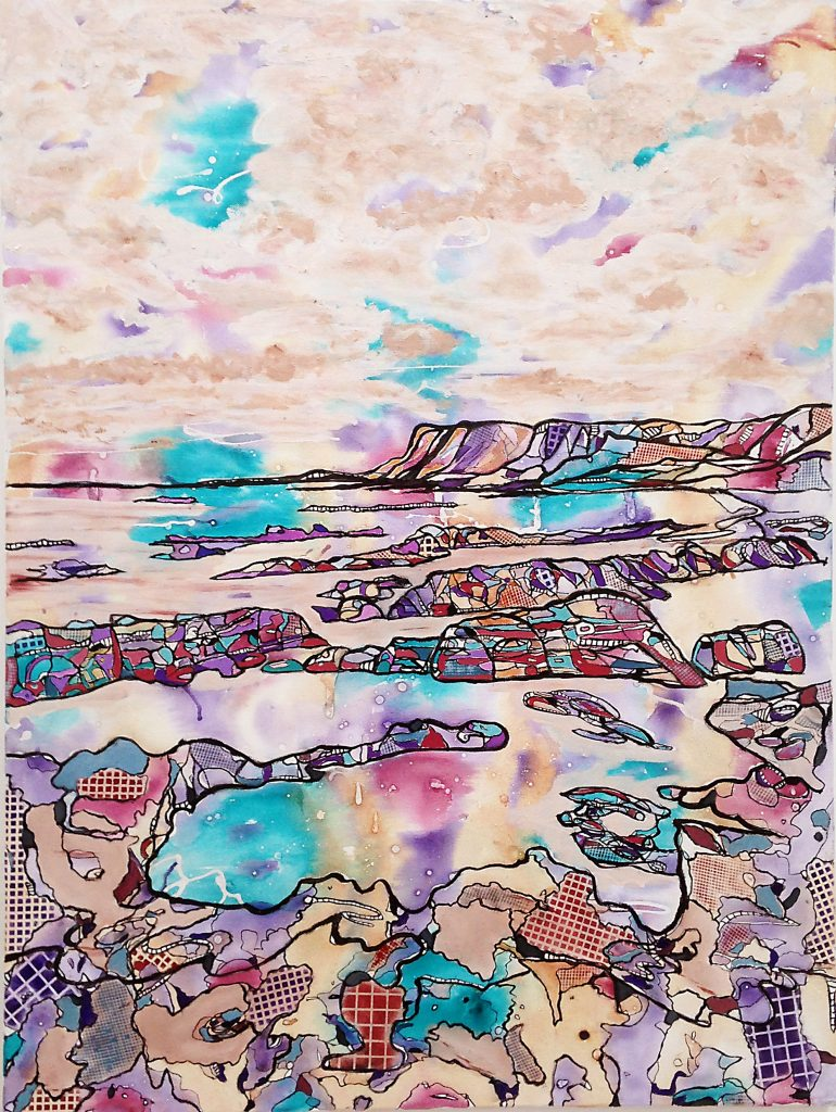 Mixed media of a shoreline – in bright pastel colours