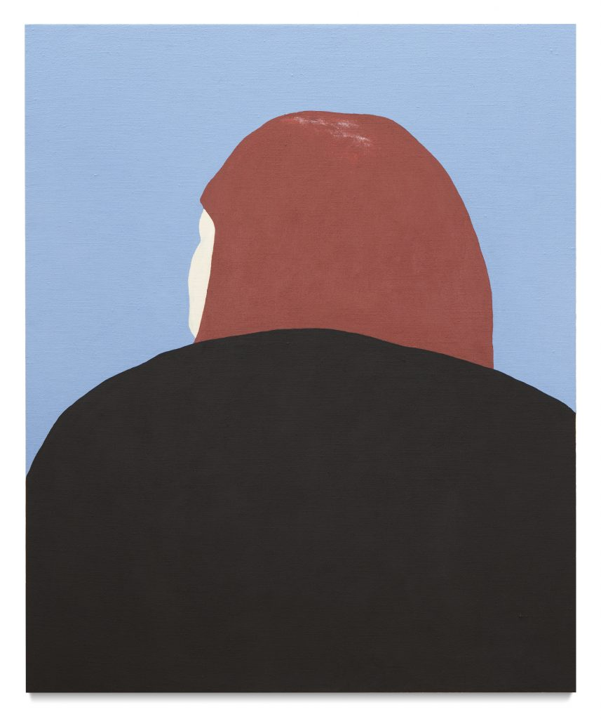 An acrylic painting of the back of a head in simple block colour
