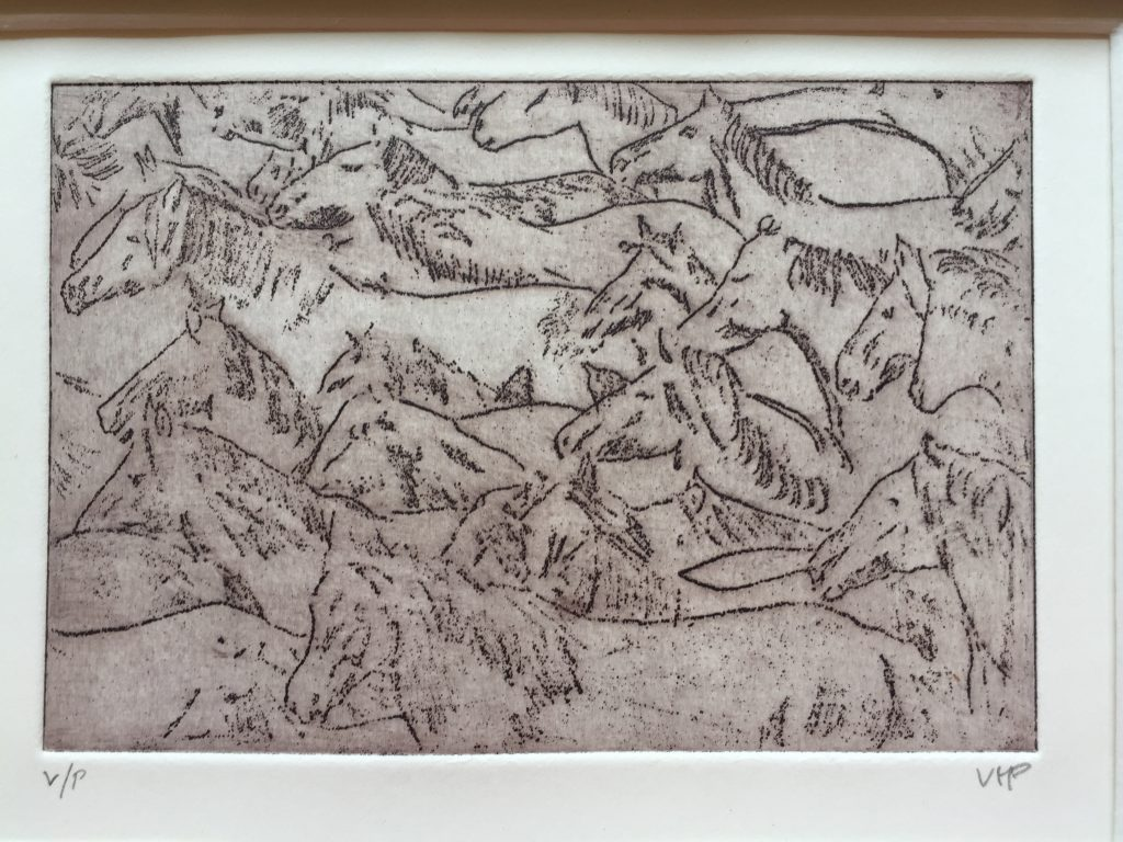 Etching of wild horses