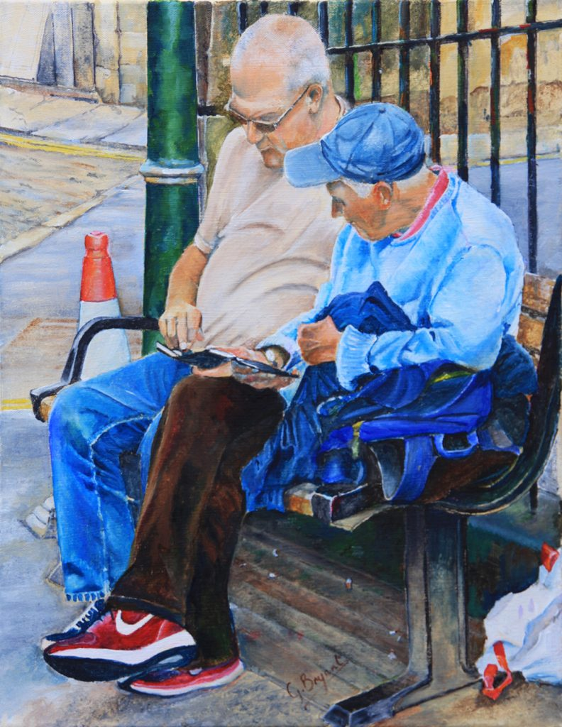 Acrylic painting of two men sat on a bench