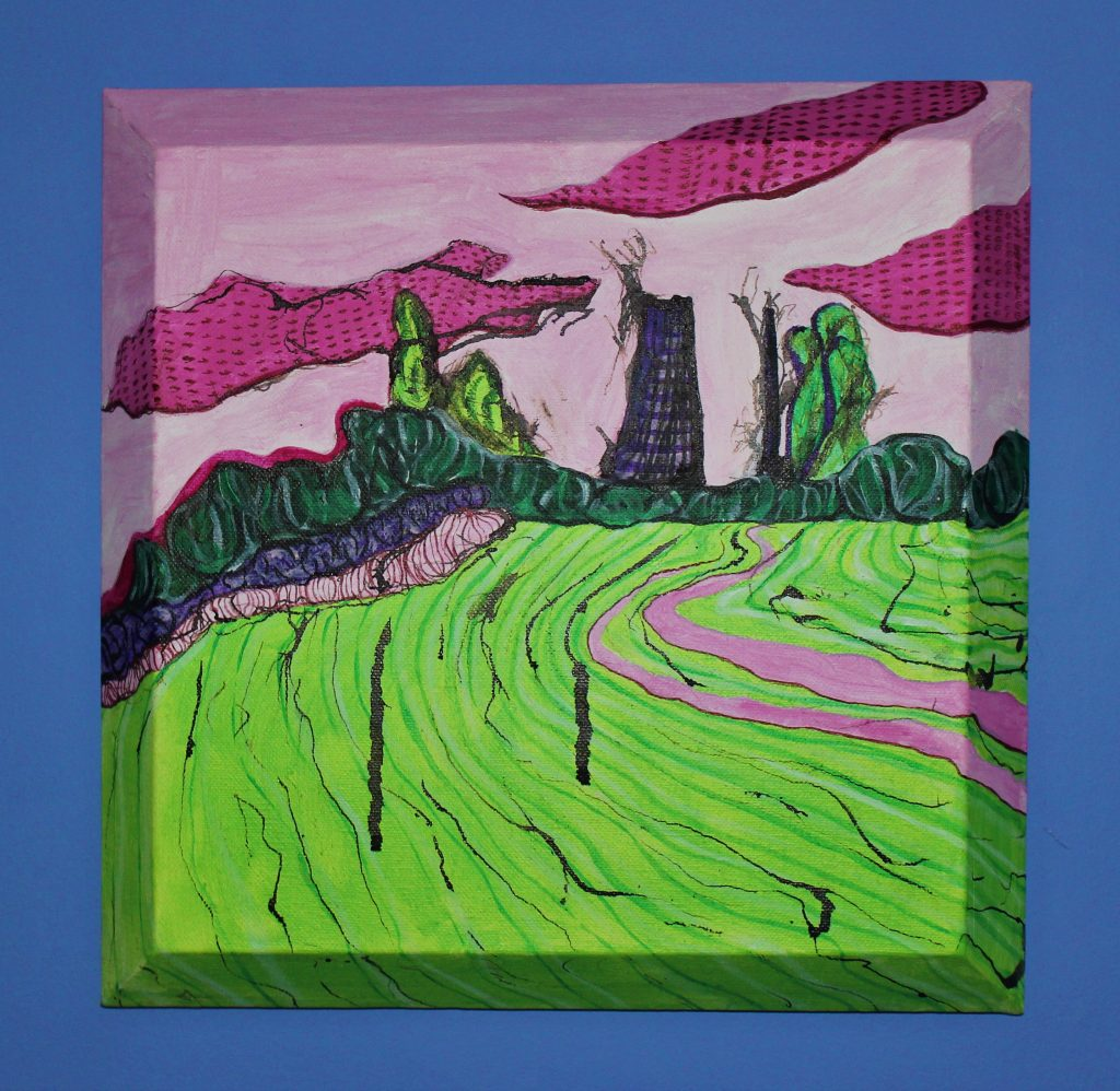 Acrylic painting of an old mill in a rural landscape – in green and pink